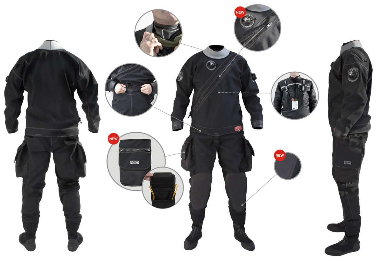 Santi Drysuits and Jumpsuits available now from ScubaGeek